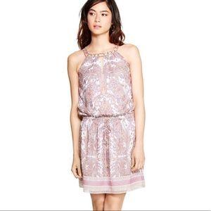 WHBM Coral and Lavender Paisley Blouson Dress Sm